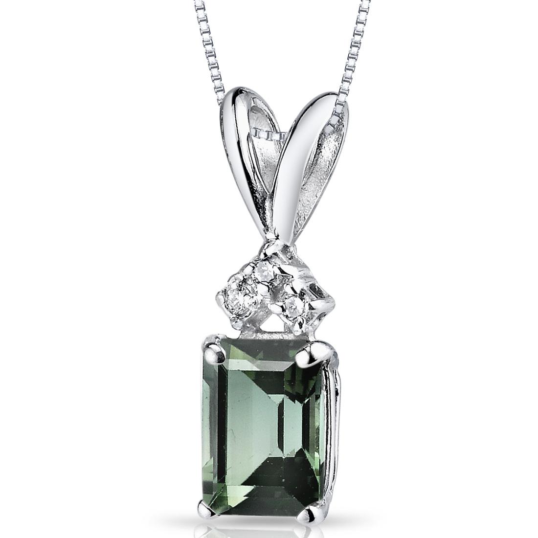 peora 14 Karat White Gold Emerald Cut 1 Carats Green Tourmaline Diamond Pendant Necklace at Sears.com
