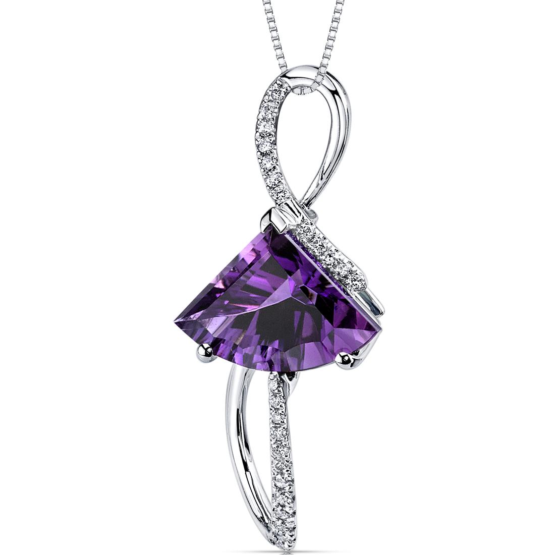 peora Amethyst Diamond Pendant 14Kt White Gold 3.5 Cts P9296 at Sears.com
