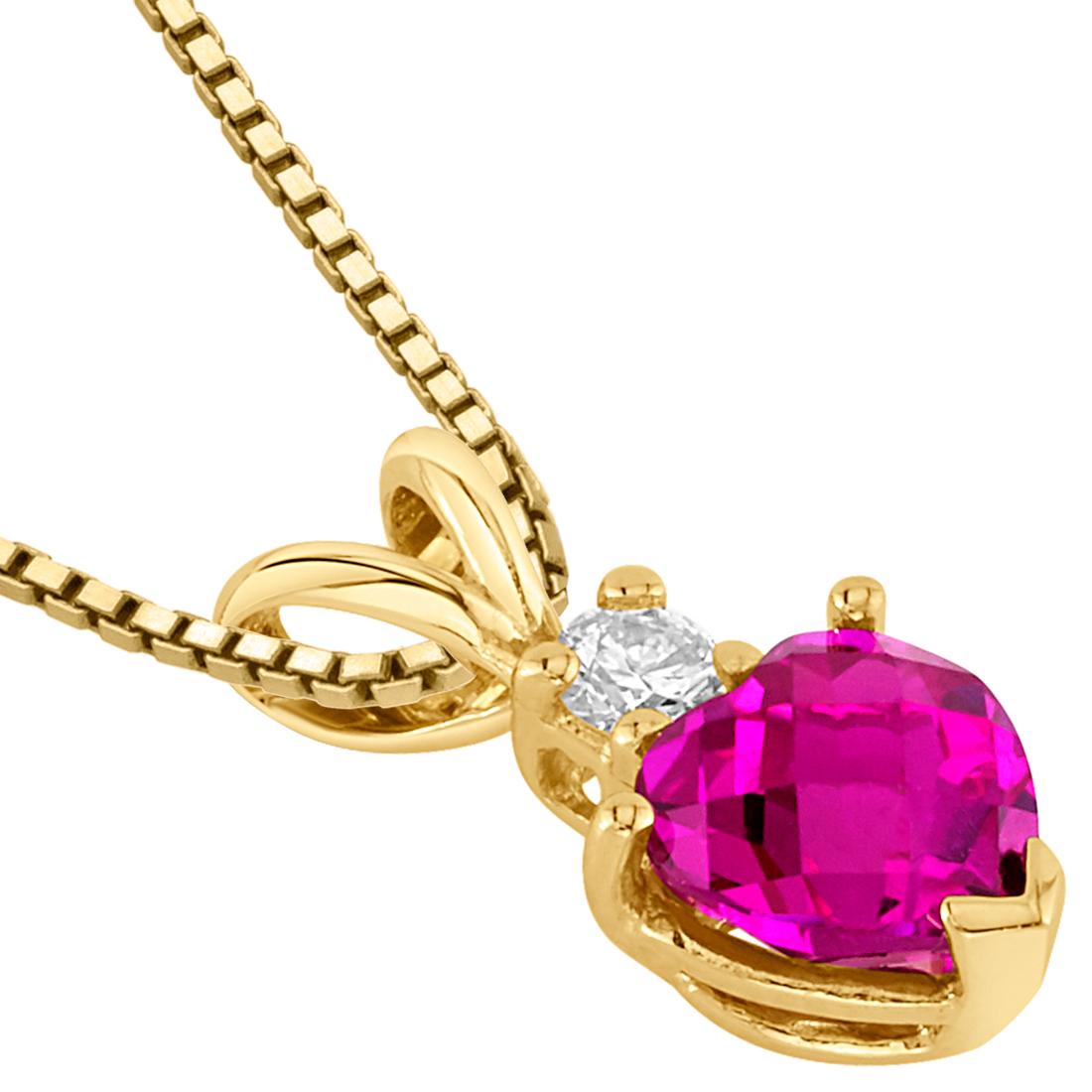 Oravo 14 kt or jaune cœur 1.00 CTS créé Rubis Diamant Pendentif