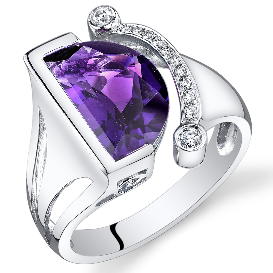 peora 14 Kt White Gold 3.1 cts Amethyst and Diamond Ring at Sears.com