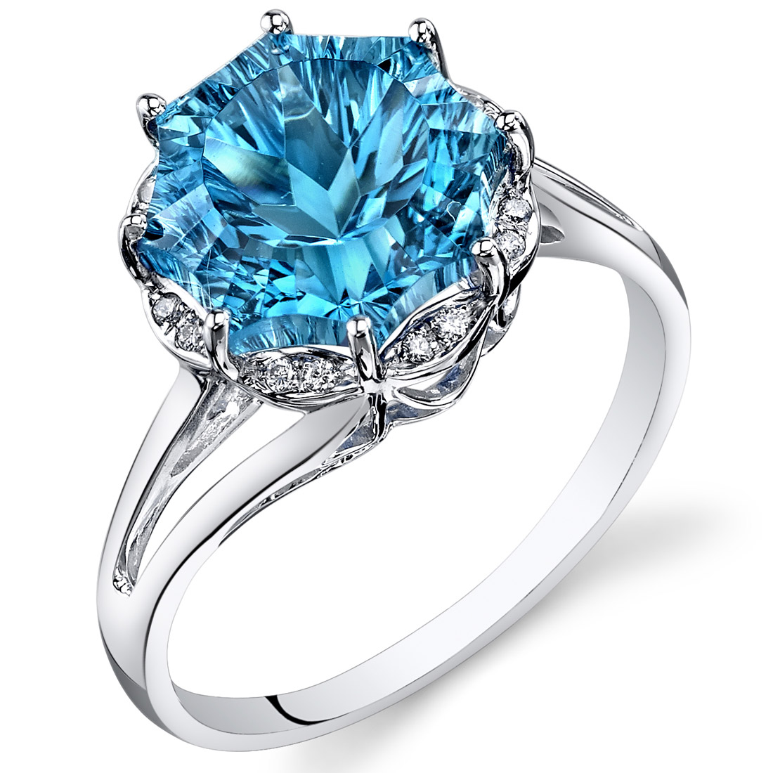 peora Swiss Blue Topaz Diamond Ring 14Kt White Gold 6 Cts R62026 at Sears.com