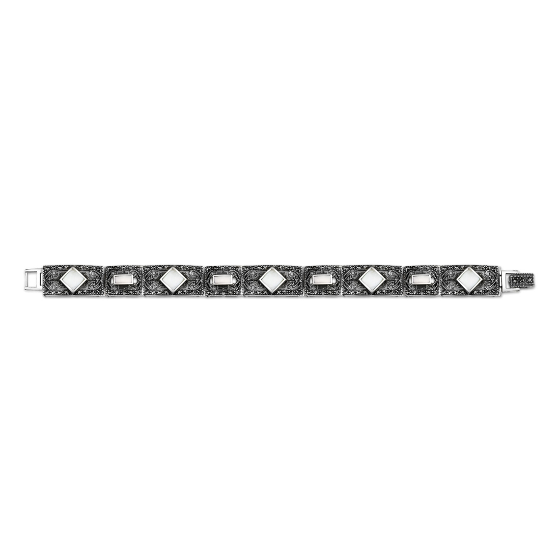 peora Romantic Indulgence: Sterling Silver Marcasite & Mother of Pearl Art Deco Style 71/4 inches Link Bracelet