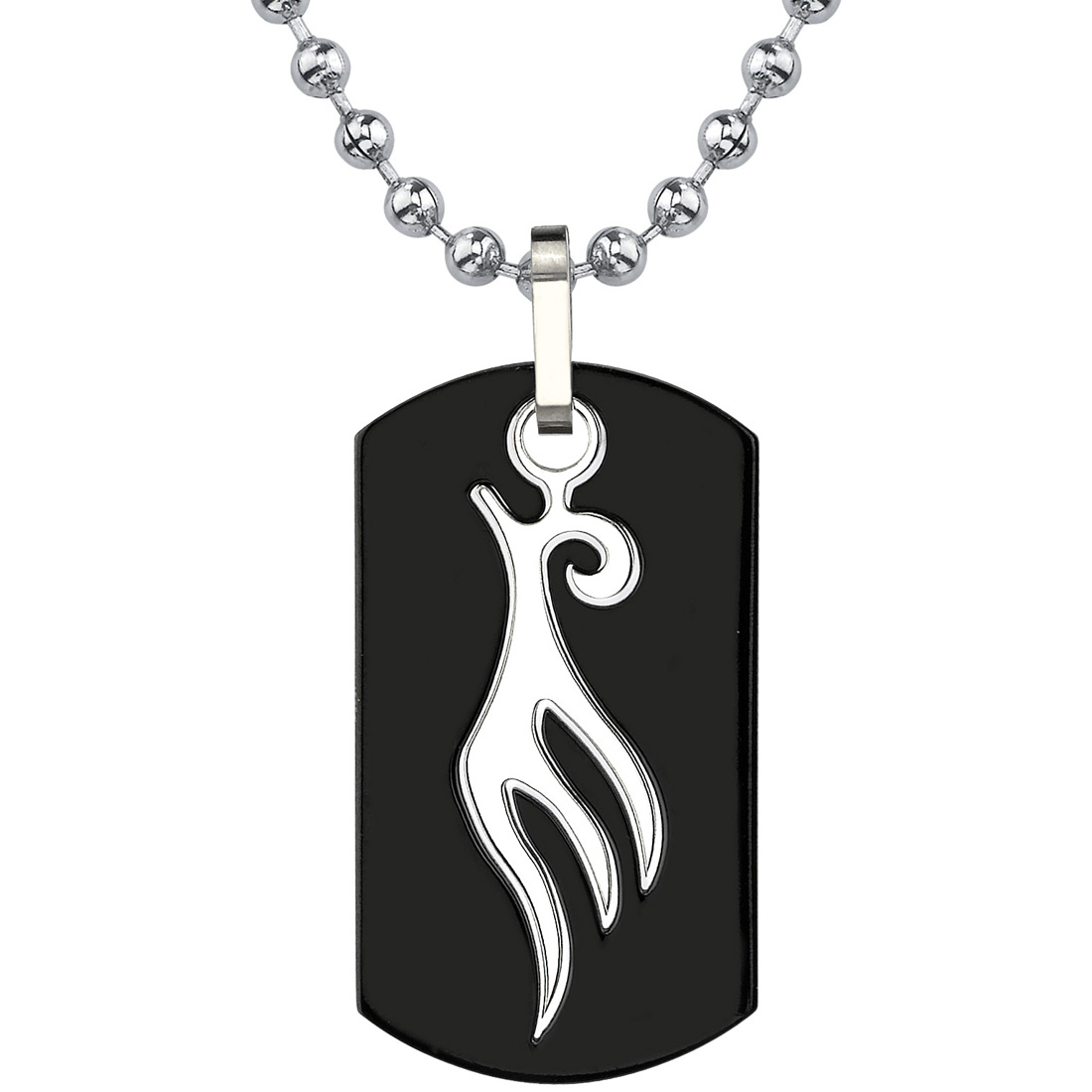 titanium dog tag pendant with tribalstyle bird tattoo on