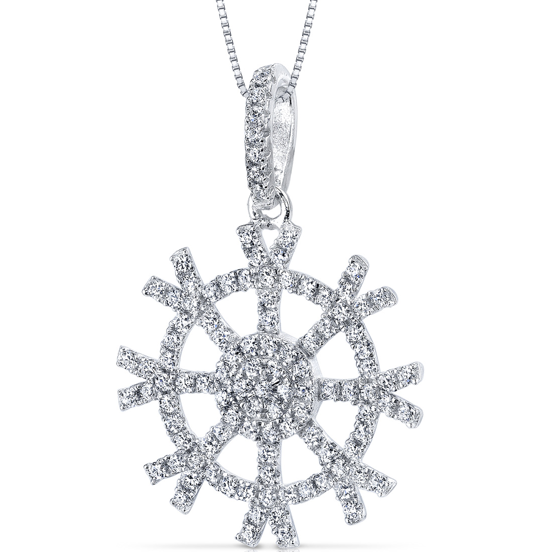 peora Snowflake Design Machine Cut White CZ Sterling Silver Rhodium Finish Pendant with 18 inch Necklace at Sears.com