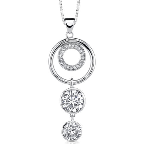 peora Encircled in Glamour: Sterling Silver Designer Inspired Circle Jewelry CZ Diamond Pendant Necklace at Sears.com