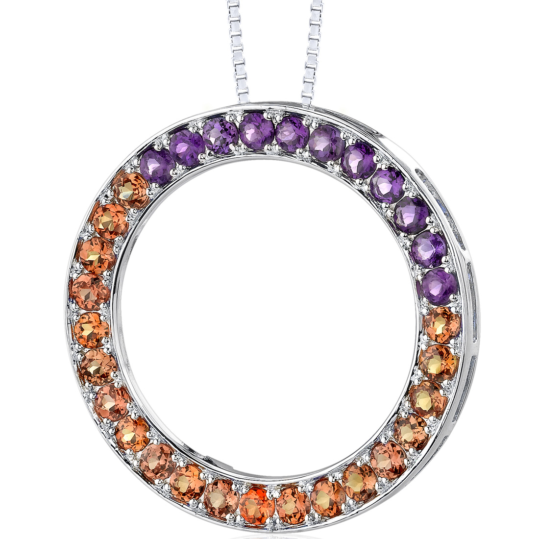 peora Sterling Silver 3.75 carats total weight Round shape Padparascha Sapphire and Amethyst Circle of Life Pendant Necklace at Sears.com