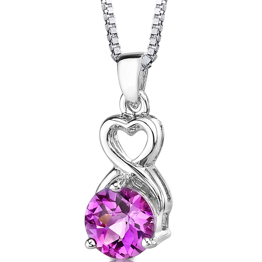 peora Magical Romance: Sterling Silver Round Shape Checkerboard Cut Pink Sapphire Pendant at Sears.com
