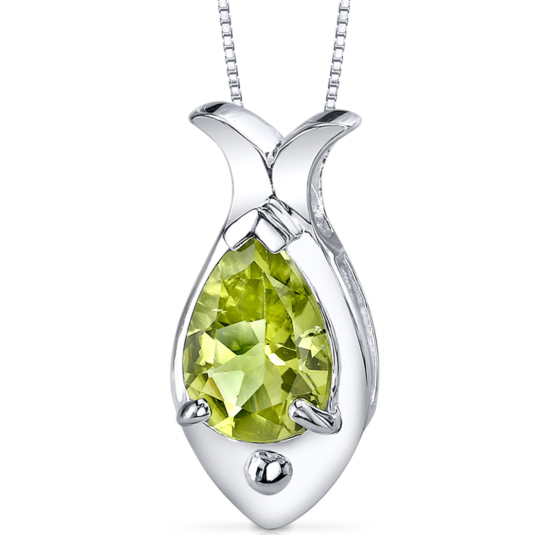 peora Fish Design 1.75 carats Pear Shape Sterling Silver Peridot Pendant at Sears.com