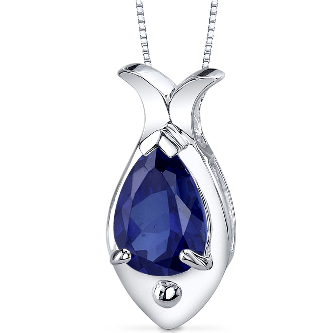 peora Fish Design 2.50 carats Pear Shape Sterling Silver Blue Sapphire Pendant at Sears.com