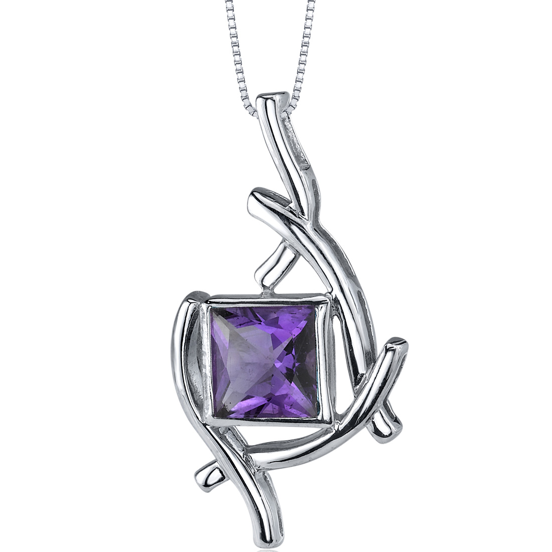 peora Artistic Design 1.50 carats Princess Cut Sterling Silver Amethyst Pendant at Sears.com