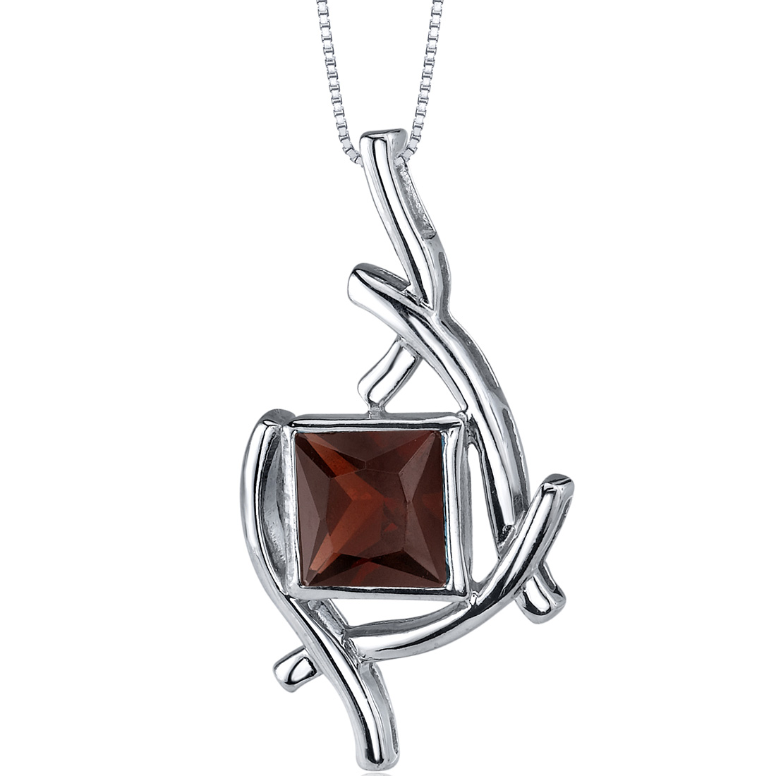 peora Artistic Design 2.00 carats Princess Cut Sterling Silver Garnet Pendant at Sears.com
