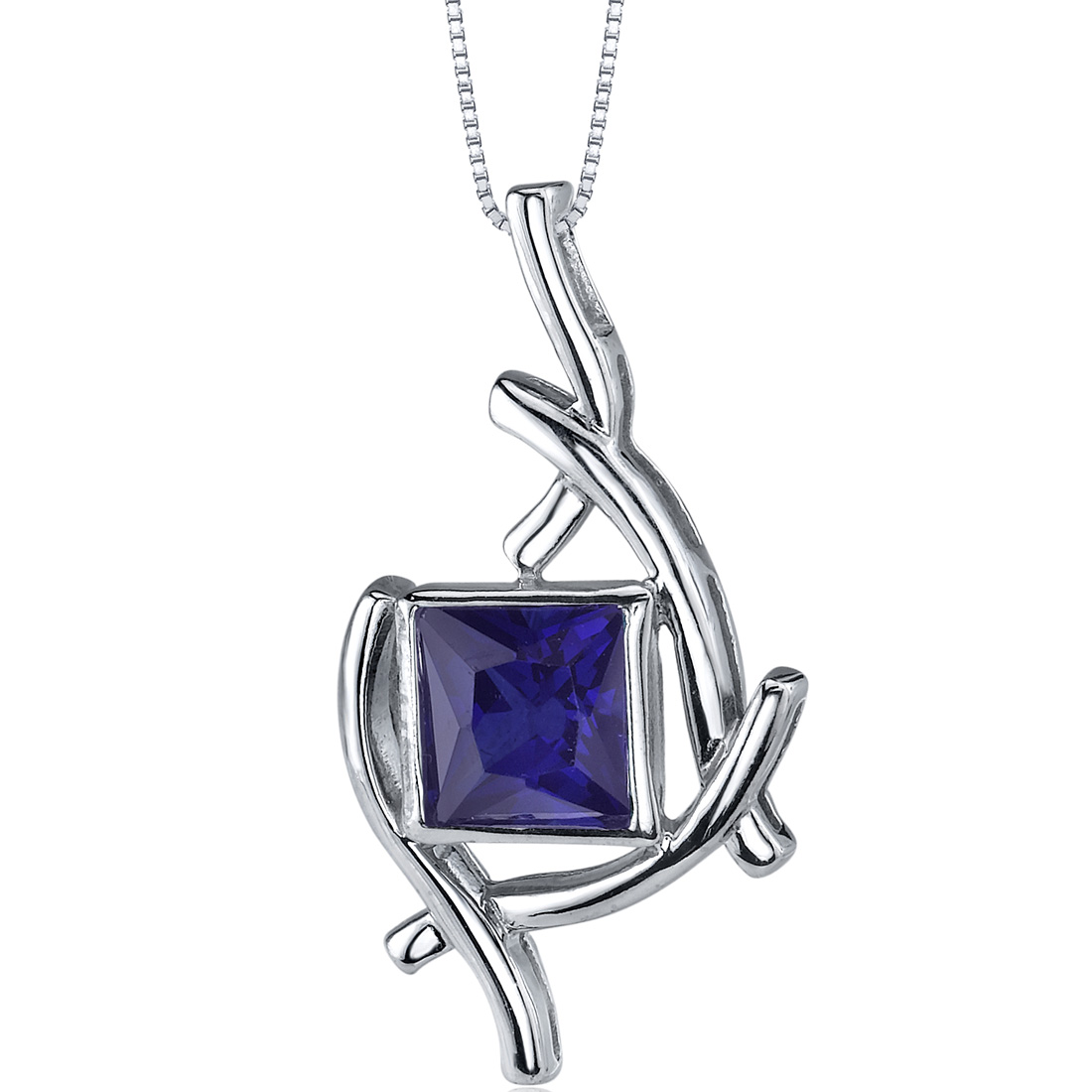 peora Artistic Design 2.25 carats Princess Cut Sterling Silver Blue Sapphire Pendant at Sears.com