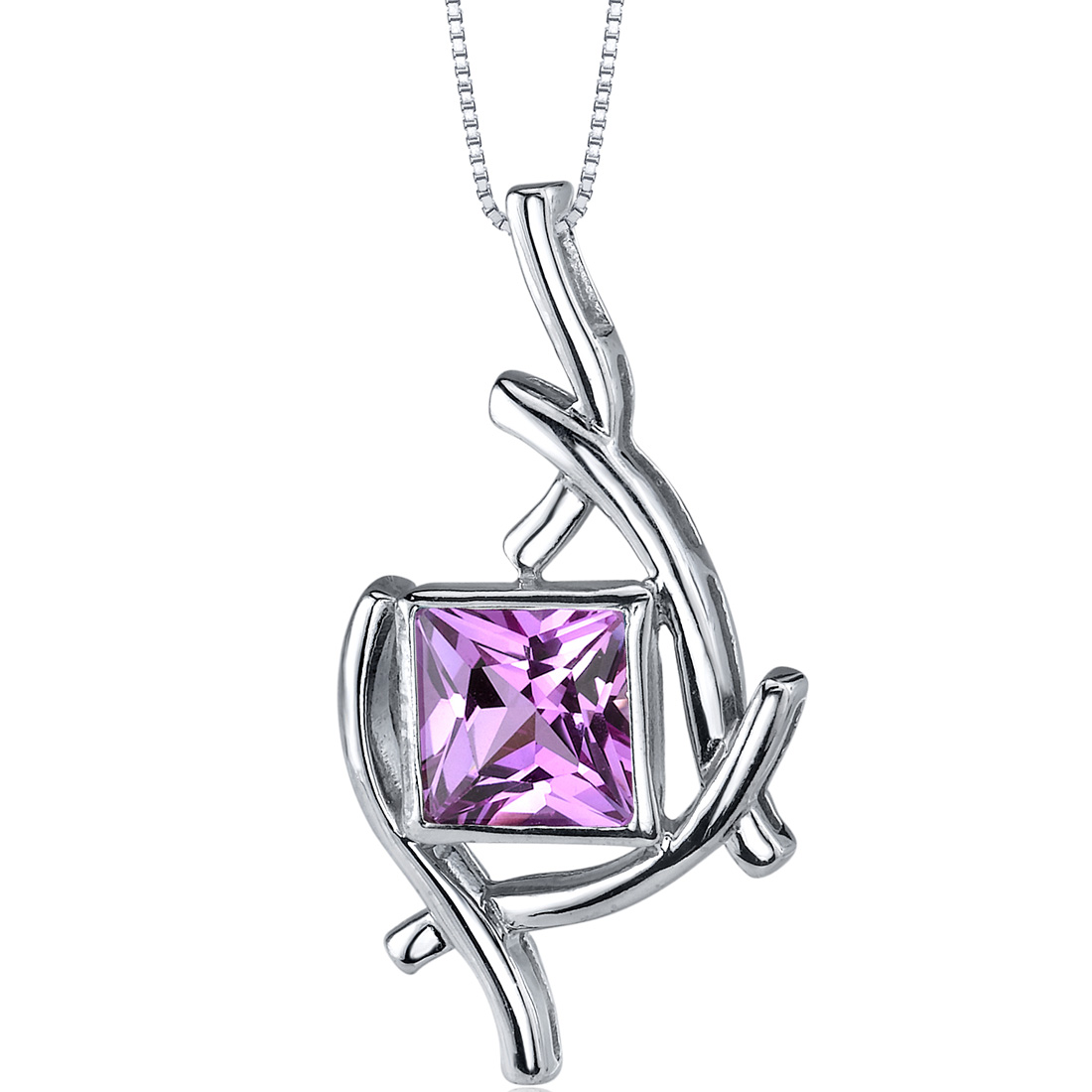 peora Artistic Design 2.25 carats Princess Cut Sterling Silver Pink Sapphire Pendant at Sears.com
