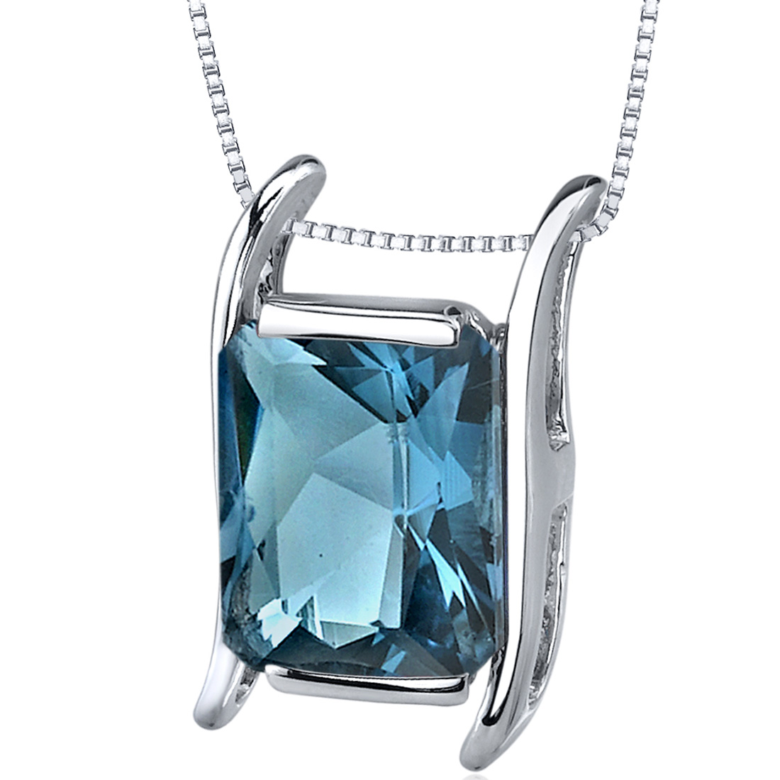 peora Striking Color 3.75 carats Radiant Cut Sterling Silver London Blue Topaz Pendant at Sears.com