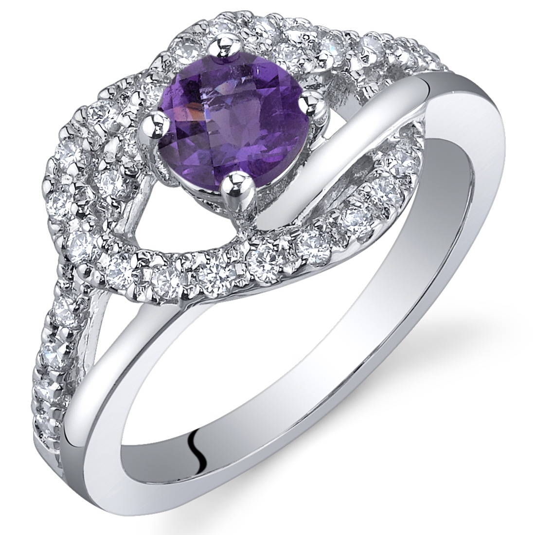 peora Rhythmic Harmony 0.50 Carats Amethyst Ring in Sterling Silver Available in Sizes 5 to 9 at Sears.com