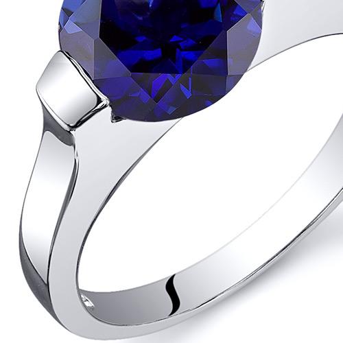 Bezel Set 2.75 cts Blue Sapphire Engagement Ring Sterling ...