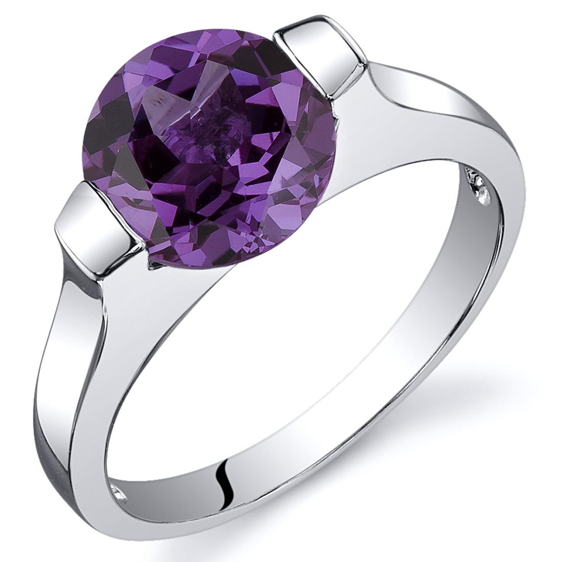 Bezel Set 2.75 cts Alexandrite Engagement Ring Sterling ...