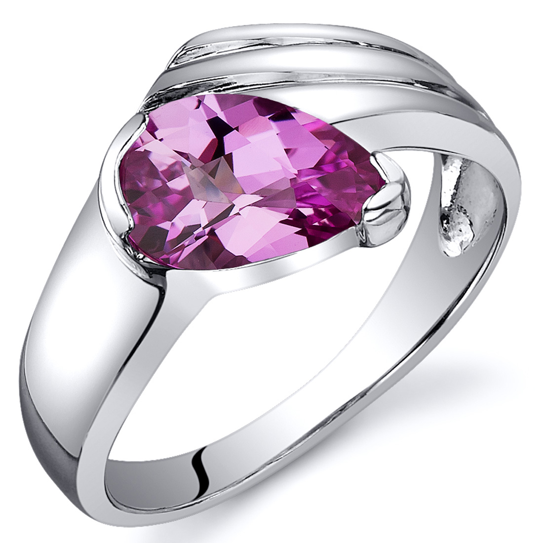 peora Contemporary Pear Shape 1.75 carats Pink Sapphire Ring in Sterling Silver Available in Sizes 5 to 9 at Sears.com