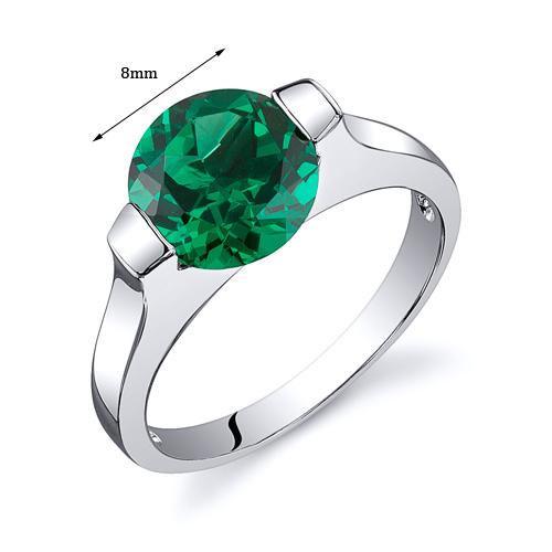 Bezel Set 1.75 cts Emerald Engagement Ring Sterling Silver ...