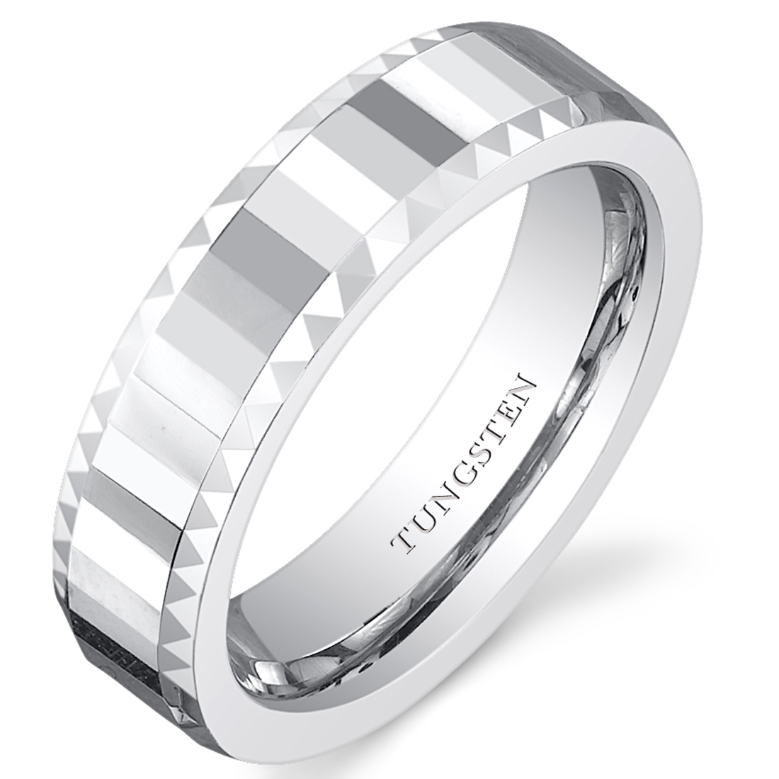Faceted 5mm Womens White Tungsten Wedding Band Ring Available In Sizes 5 To 8