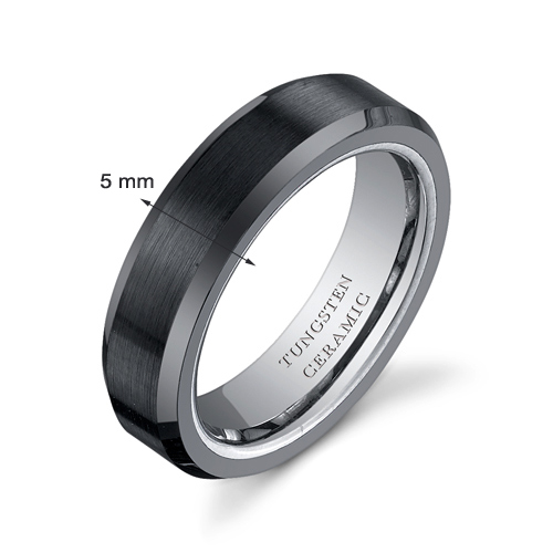 5mm Womens Tungsten Black Ceramic Wedding Band Ring Available In Sizes 5 To 8