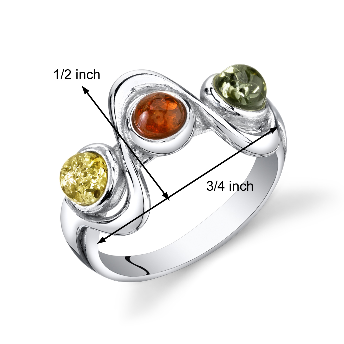 Baltic amber 3 stone engagement ring in sterling silver for Amber stone wedding ring