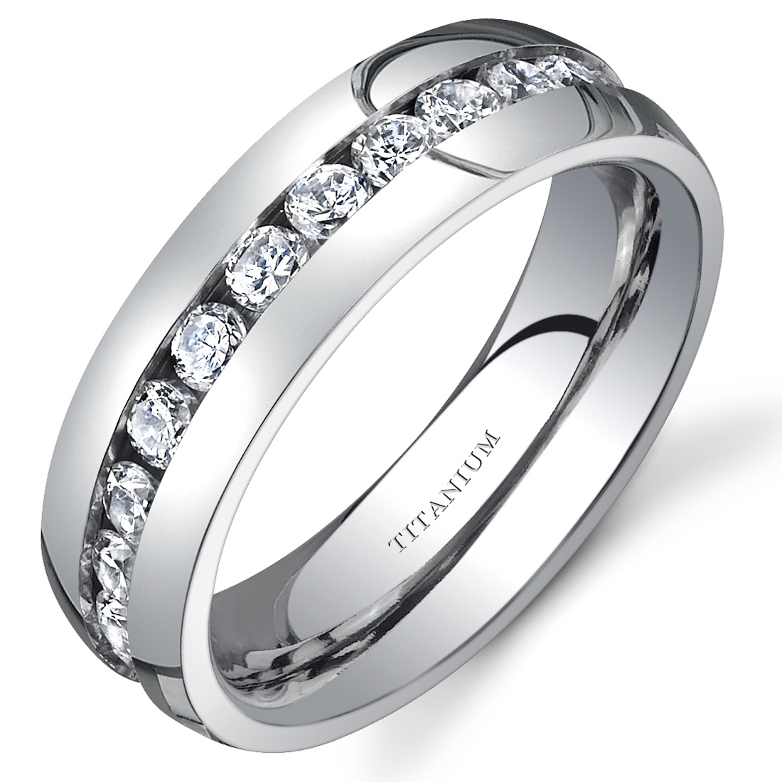 titanium womens 6 mm eternity band with cubic zirconia. Black Bedroom Furniture Sets. Home Design Ideas