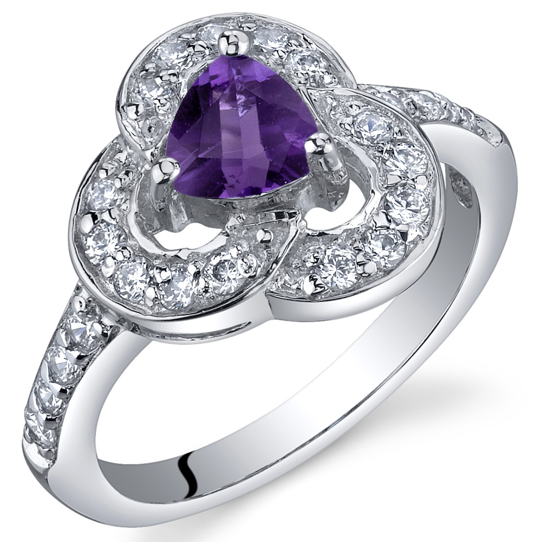 Trifecta of Beauty 0.50 Carats Amethyst Ring in Sterling Silver Available