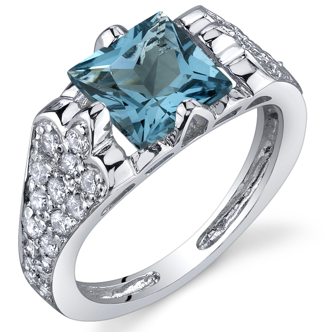 peora Elegant Opulence 1.75 Carats London Blue Topaz Ring in Sterling Silver Available in Sizes 5 to 9