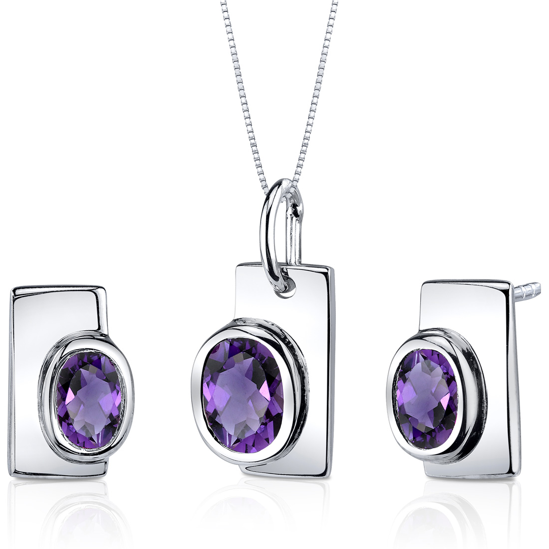 peora Art Deco Bezel Set 1.75 carats Sterling Silver with Rhodium Finish Amethyst Pendant Earrings Set