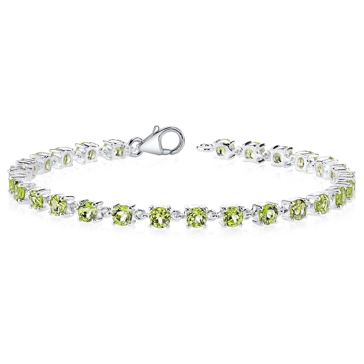 5.75 CT Marquise Green Peridot  Sterling Silver Bracelet