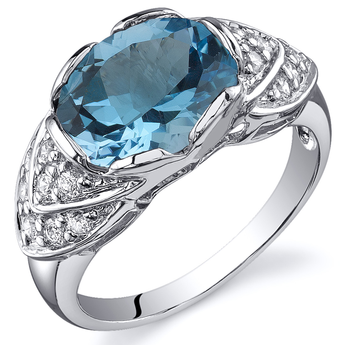 Channel Set 2.75 cts Alexandrite CZ Ring Sterling Silver