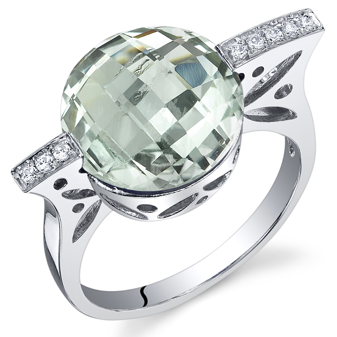 2.25 cts Green Amethyst Solitiare Ring Sterling Silver Sizes 5 to 9
