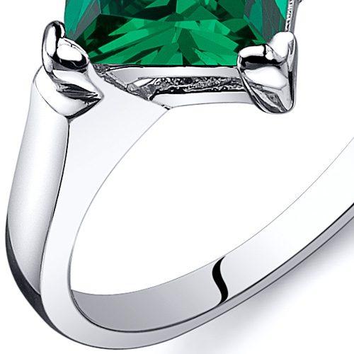Striking 1.50 cts Amethyst Emerald Ring Sterling Silver Sizes 5 to 9