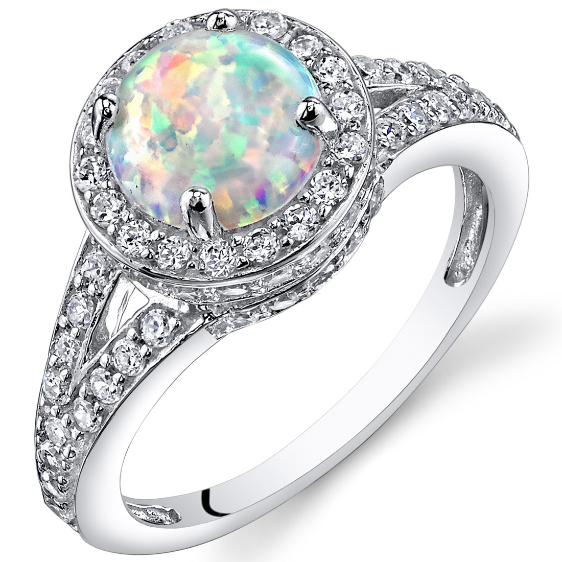 Created Opal Halo Ring Sterling Silver 1.25 Carats Sizes 5 t