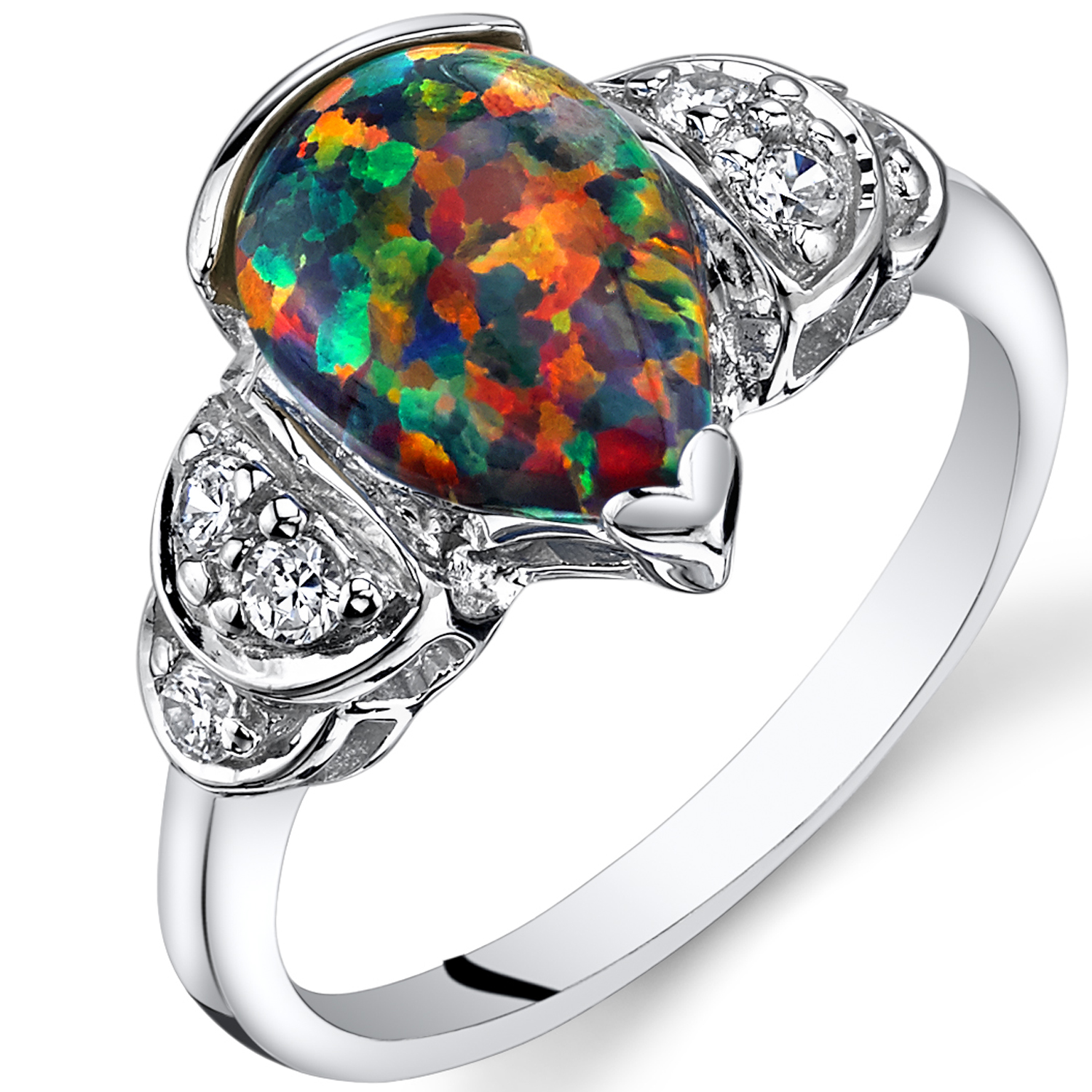 Created Opal Engagement Ring Sterling Silver 1.25 Carats Sizes 5 to 9
